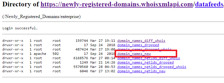 Click domain_names_new to access the newly registered domains database.