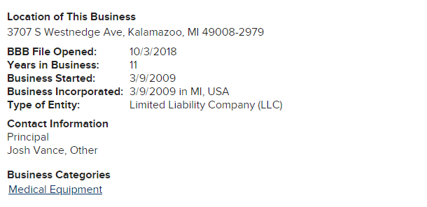 As you can also see in the BBB report below, the business was incorporated on March 9, 2009 — around the same time that its domain was reserved.