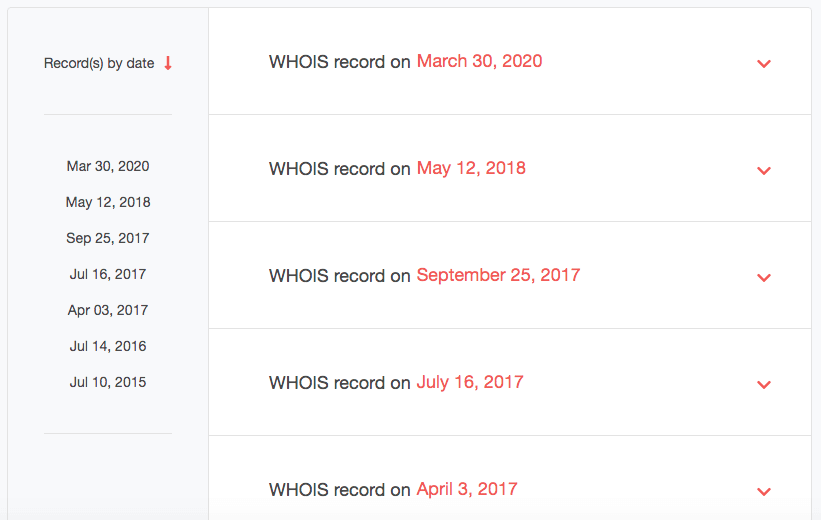 You will get a list of dates when the domain's WHOIS record was updated.