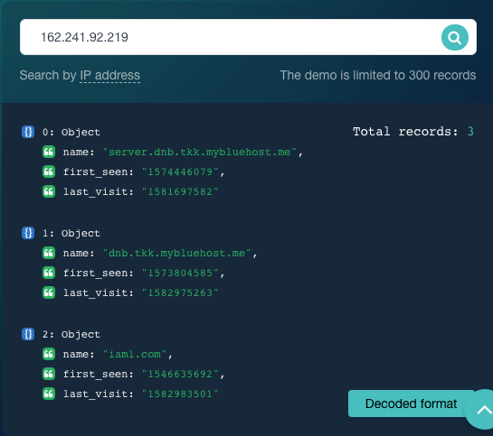 Use Reverse IP/DNS API to identify connected domains