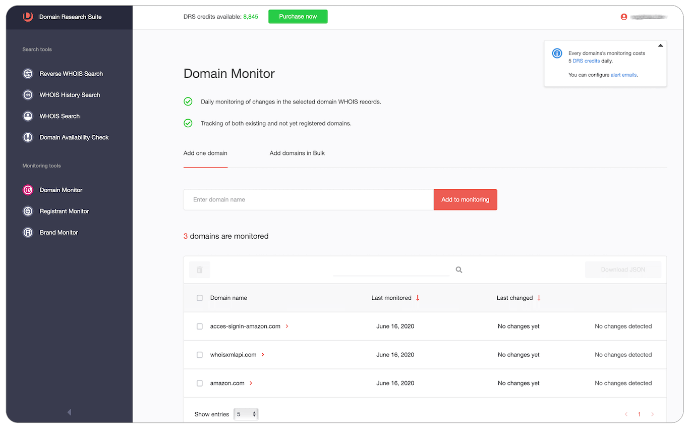 Domain monitor Web tool tutorial