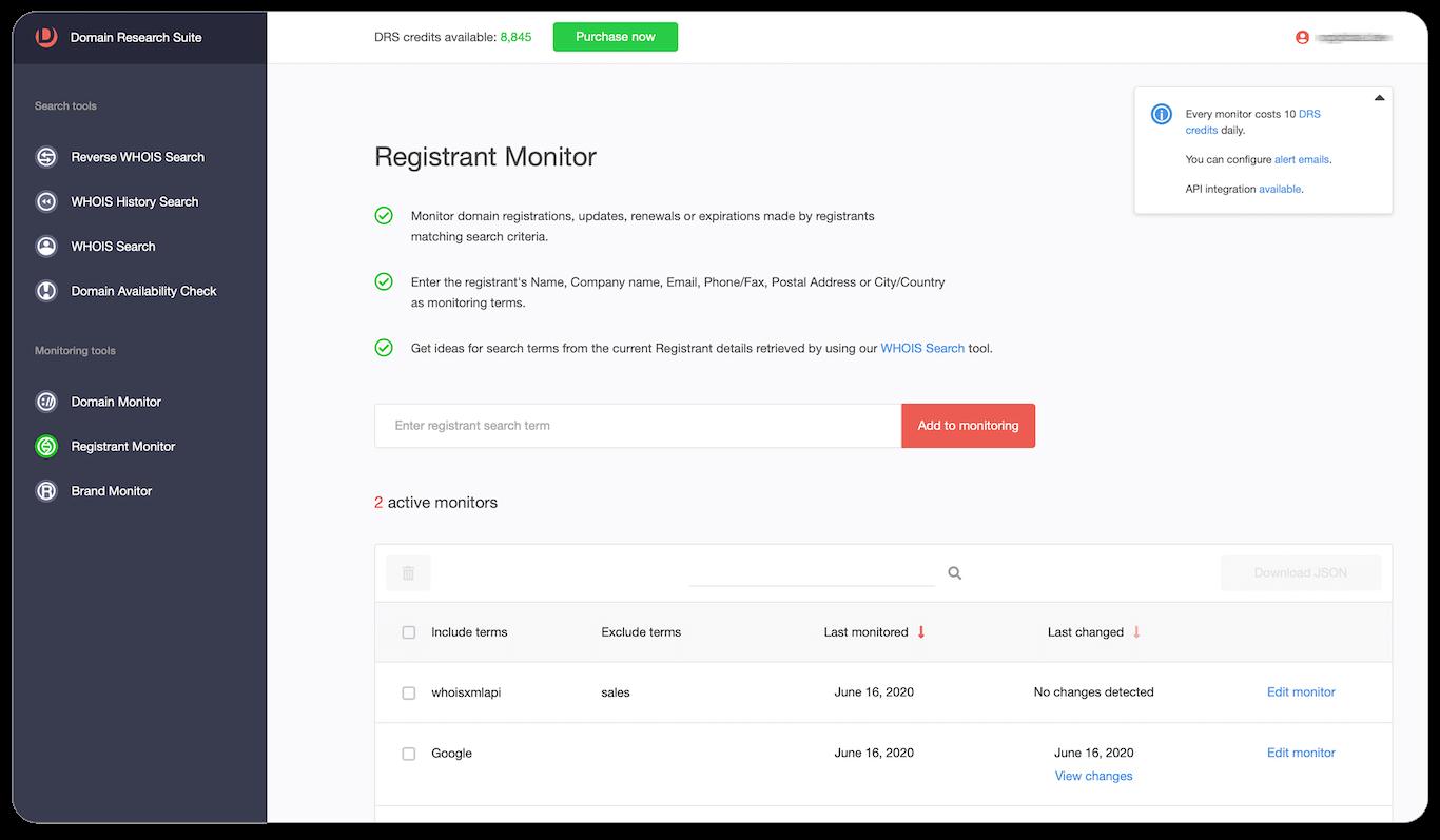 Registrant monitor Web tool tutorial