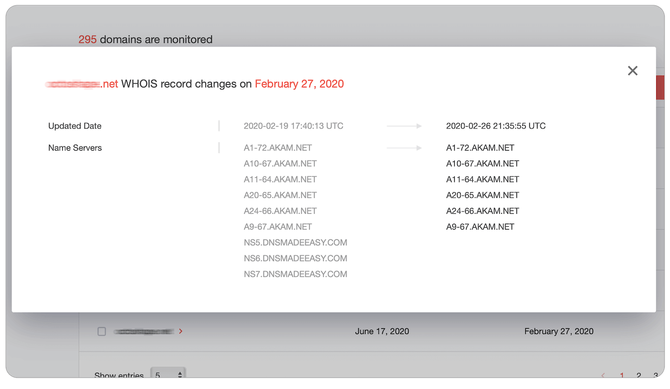 "When clicking on ""View changes"" you will see what actually has changed in the domains' WHOIS record, in the ""was → now"" format."