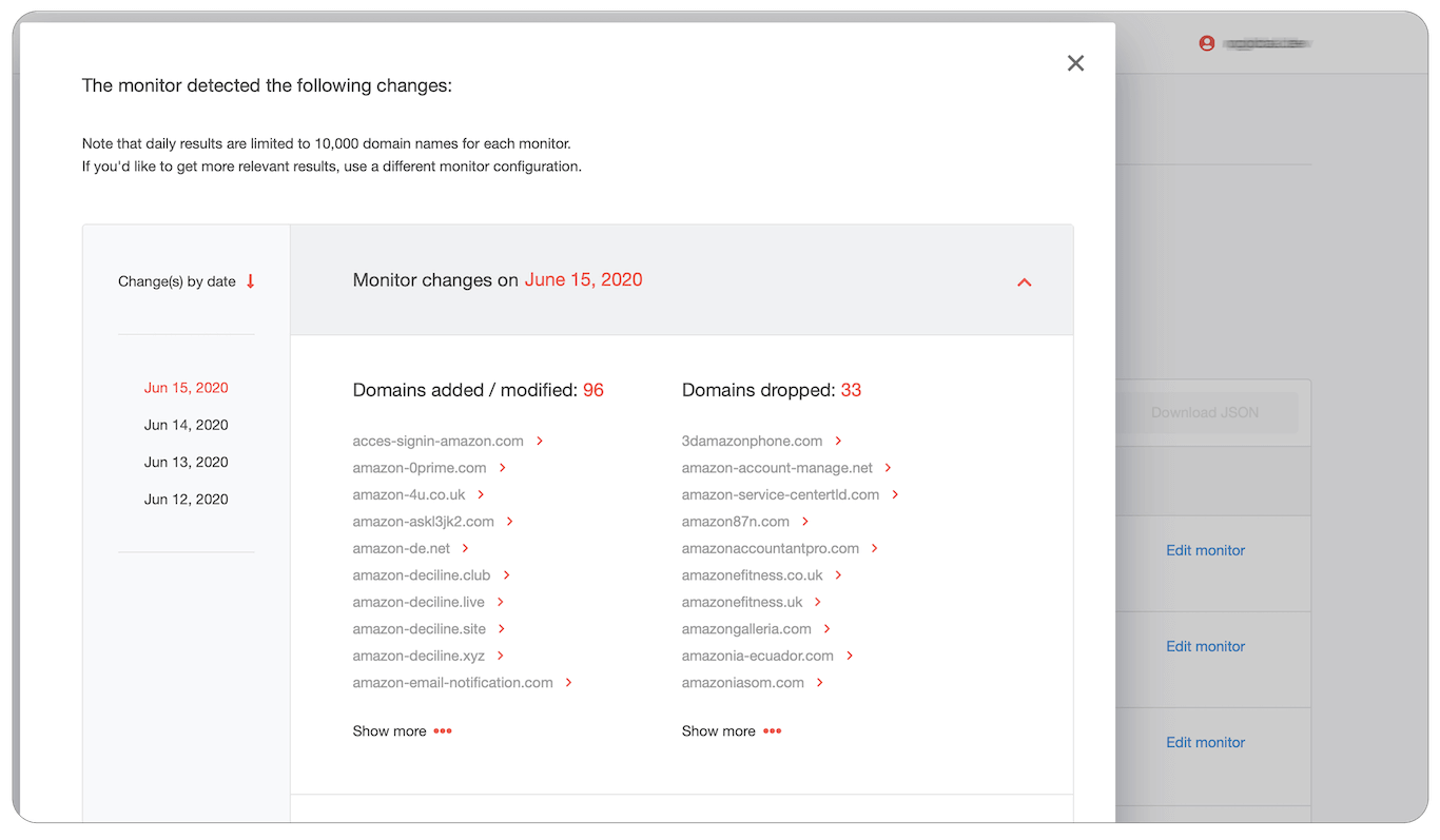 """When clicking on """"View changes"""" you will see the lists of newly registered and recently expired domains on a given date and changes history by the date."""