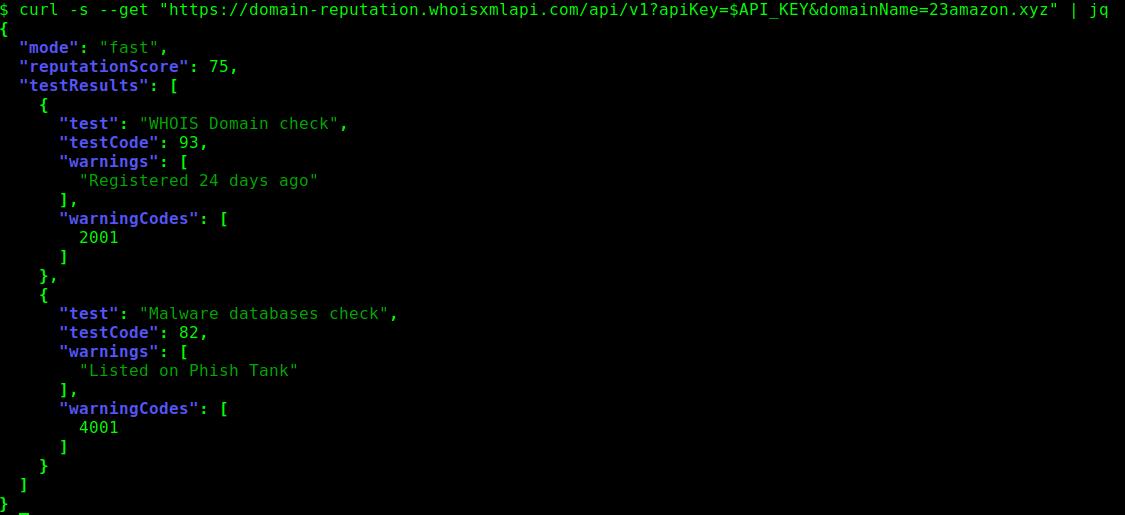 API response